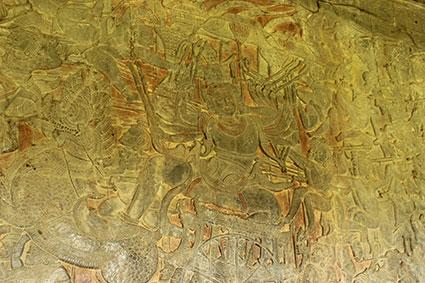 Detalle del dios Vishnu durante una de las legendarias batallas contra Ravanna el rey de los demonios, en Angkor Wat (Camboya).