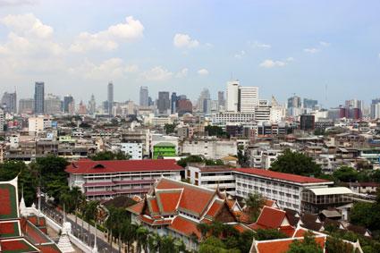 Imagen de Bangkok desde la terraza del templo del Monte Dorado
