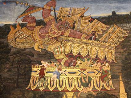 Detalle del mosaico sobre mitología ramakiana, Wat Phra Kaew