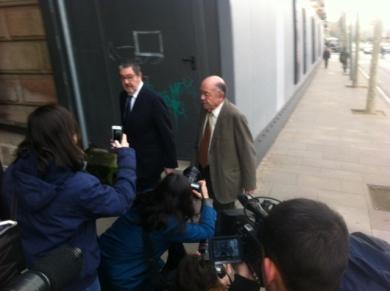 Félix Millet entra al Palacio de Justicia de Barcelona el primer día del juicio por el caso Hotel del Palau (Barcelona).