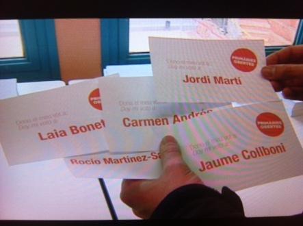 Las cinco papeletas correspondientes a los candidatos del PSC a la alcaldía de Barcelona.