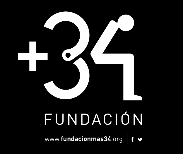 Logotipo de la Fundación +34 de ayuda a presos españoles en el extranjero y sus familias en España.