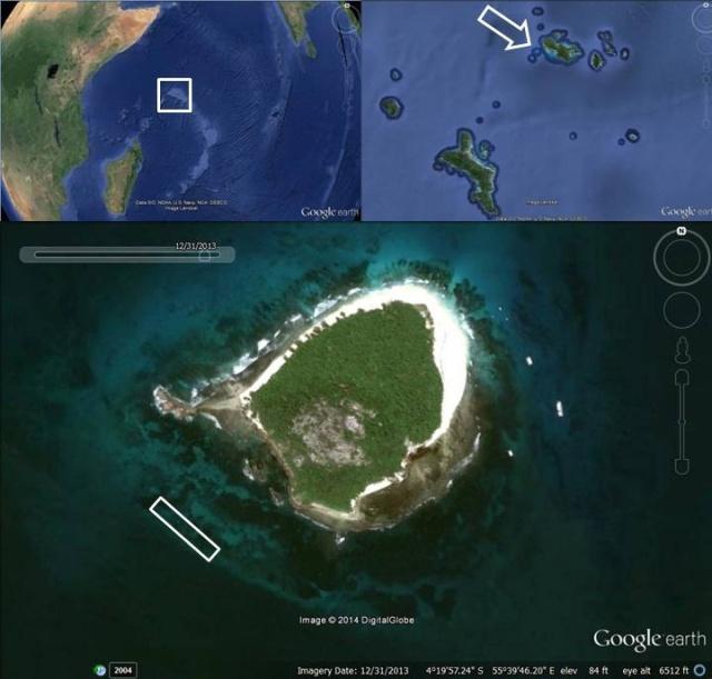 MAPA COMPUESTO DE LAS SEYCHELLES. En la imagen ampliada se aprecia la isla de Cousin, la reserva natural en donde se sitúan los viveros de coral y el arrecife trasplantado. Copyright: Google Earth
