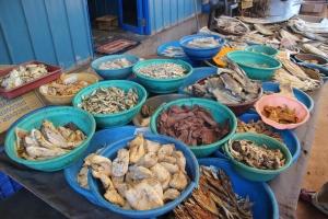 Una parada de pescado en el Mercado de Pescado de Negombo, Sri Lanka.